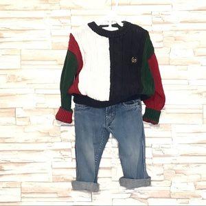 Vintage 4/5 90'sColorBlock Sweater Levi Orange Tab